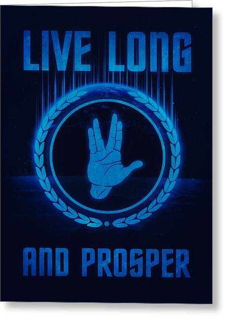 Enterprise Greeting Cards - Live Long and Prosper Spocks hand Leonard Nimoy Geek Tribut Greeting Card by Philipp Rietz