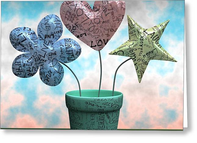 Balloon Flower Digital Art Greeting Cards - Live Love Laugh Create Greeting Card by Nathan Ryan