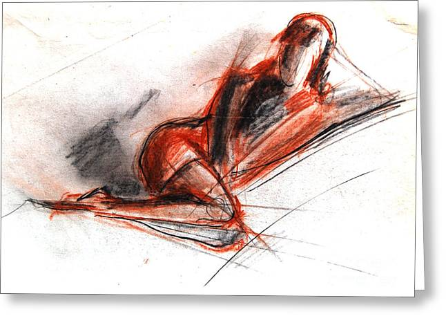 Figure Pose Greeting Cards - Live Model Study 3 Greeting Card by Mona Edulesco