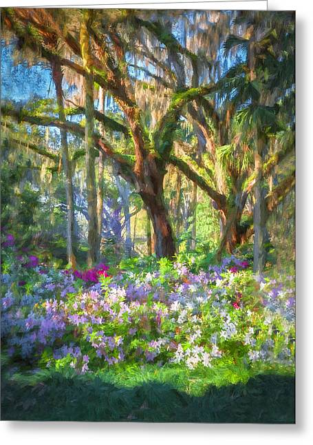 Oak Hammocks Greeting Cards - Live Oaks and Azaleas Painted  Greeting Card by Rich Franco