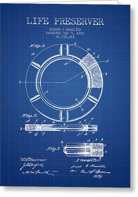 Lifebelt Greeting Cards - Live Preserver Patent from 1902 - Blueprint Greeting Card by Aged Pixel