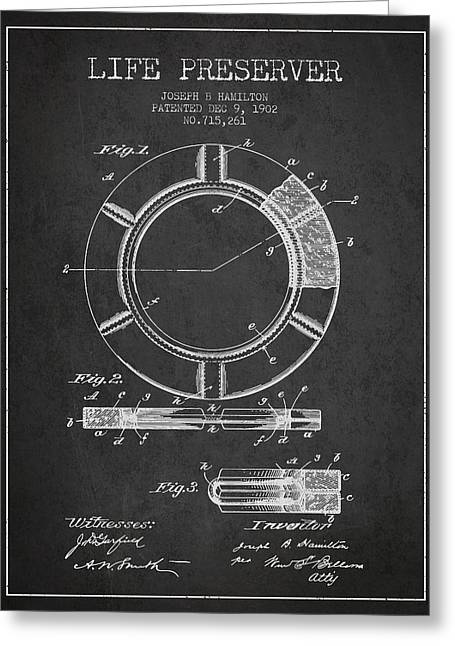 Lifebelt Greeting Cards - Live Preserver Patent from 1902 - Charcoal Greeting Card by Aged Pixel