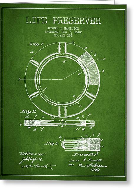 Lifebelt Greeting Cards - Live Preserver Patent from 1902 - Green Greeting Card by Aged Pixel