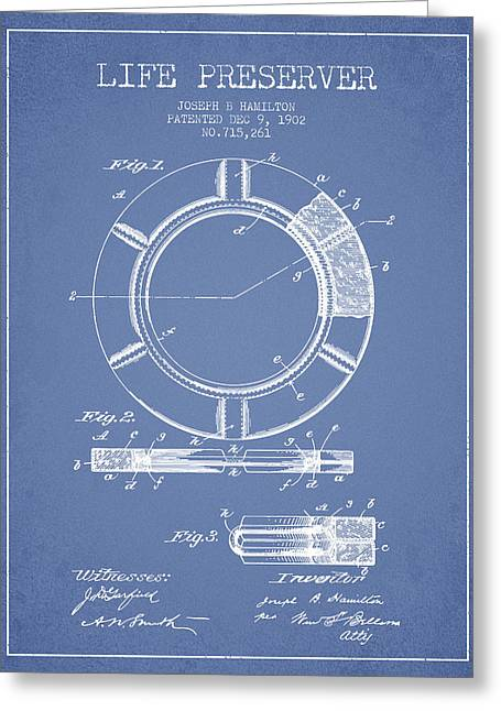 Lifebelt Greeting Cards - Live Preserver Patent from 1902 - Light Blue Greeting Card by Aged Pixel