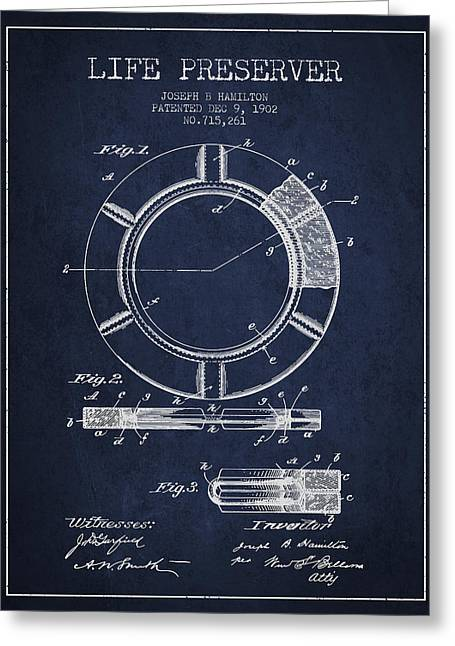 Lifebelt Greeting Cards - Live Preserver Patent from 1902 - Navy Blue Greeting Card by Aged Pixel