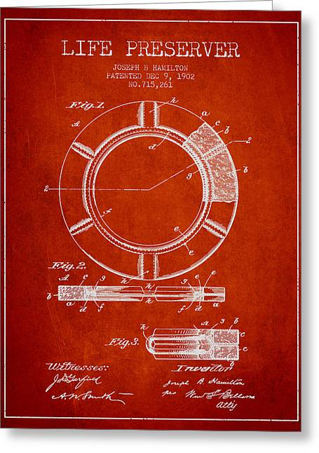 Lifebelt Greeting Cards - Live Preserver Patent from 1902 - Red Greeting Card by Aged Pixel
