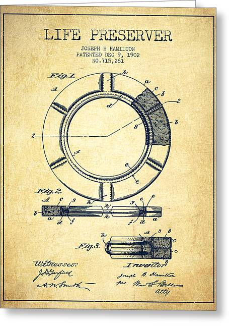 Live Preserver Patent From 1902 - Vintage Greeting Card by Aged Pixel