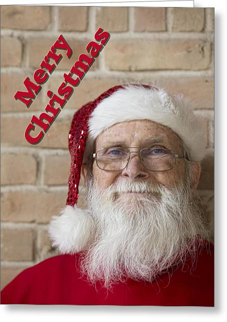 White Beard Greeting Cards - Live Santa Greeting Card by Linda Phelps