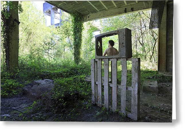 Live Selfportrait Greeting Card by Fernando Alvarez Charro