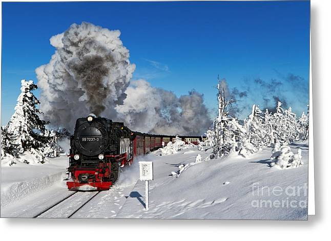 Brocken Greeting Cards - Live steam on the Brocken mountain Greeting Card by Christian Spiller