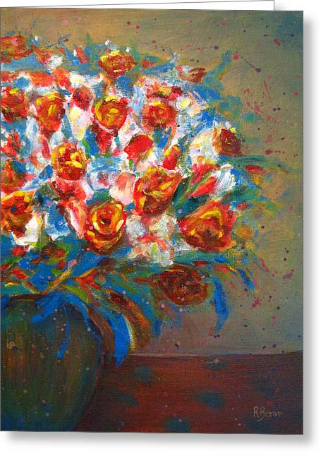 Robie Benve Greeting Cards - Lively Flowers in Vase Greeting Card by Robie Benve