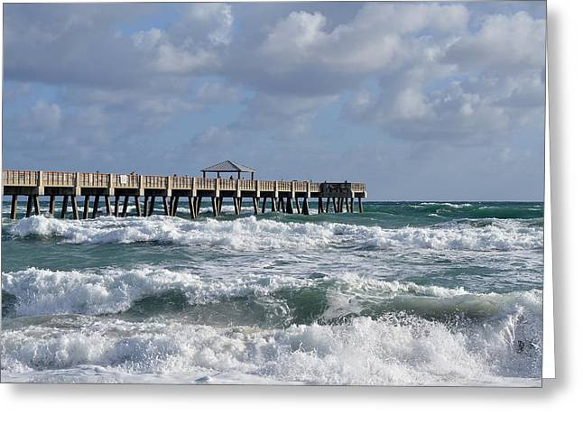 Florida House Greeting Cards - Lively Surf At Juno Greeting Card by Laura  Fasulo
