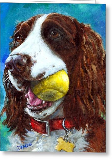 Tennis Ball Greeting Cards - Liver English Springer Spaniel with Tennis Ball Greeting Card by Dottie Dracos