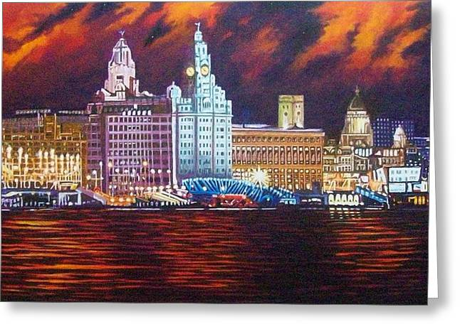 Sunset Framed Prints Drawings Greeting Cards - Liverpool by night Greeting Card by Stephen Rea