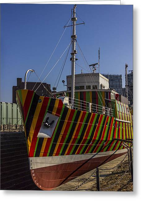 Dazzled Greeting Cards - Liverpool Dazzle Ship Greeting Card by Paul Madden