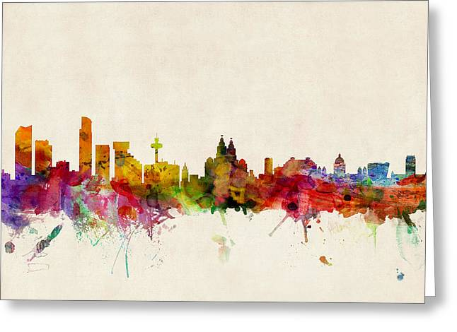 Cityscape Greeting Cards - Liverpool England Skyline Greeting Card by Michael Tompsett