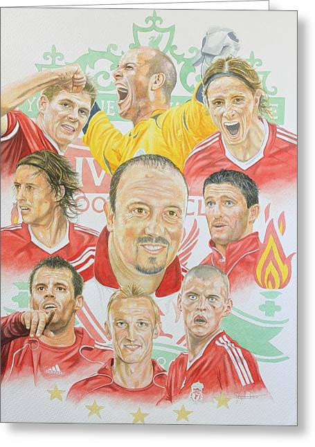 Soccer Framed Prints Greeting Cards - Liverpool FC Greeting Card by Stephen Rea