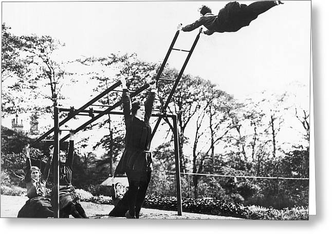 Liverpool Ladder Swinging Greeting Card by Underwood Archives
