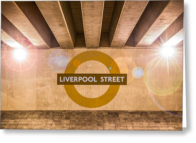 British Crime Greeting Cards - Liverpool Street Underground Greeting Card by Semmick Photo