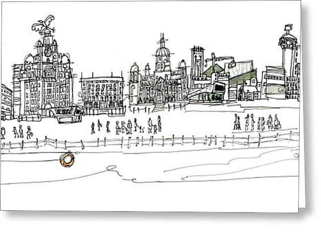 Pen And Ink Drawing Greeting Cards - Liverpool Waterfront Greeting Card by Freida Mckitrick