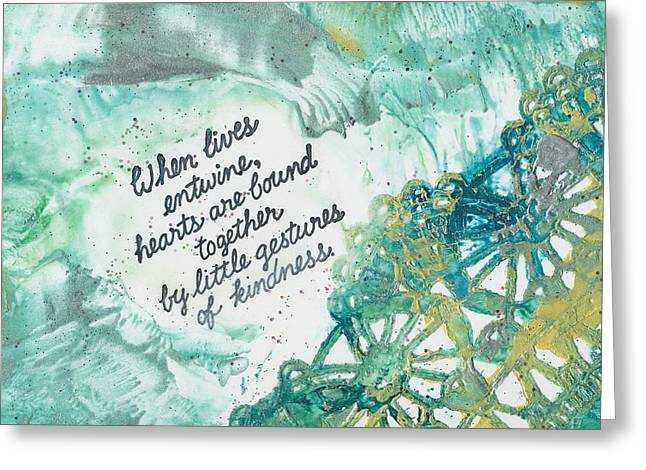 Azure Mixed Media Greeting Cards - Lives entwine Greeting Card by Trish Tinsley