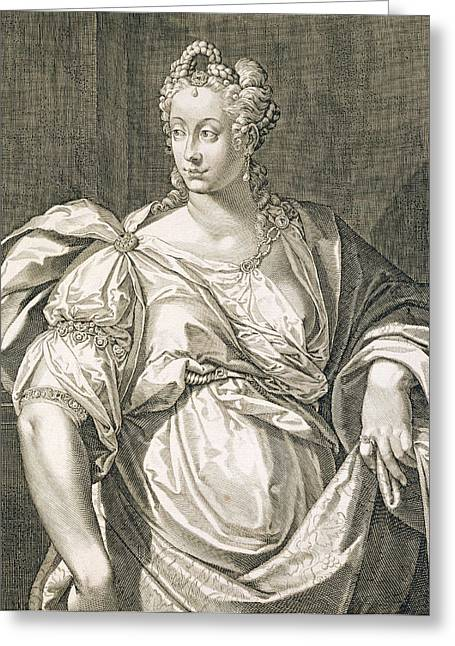Script Drawings Greeting Cards - Livia Drusilla Wife Of Octavian Greeting Card by Aegidius Sadeler or Saedeler