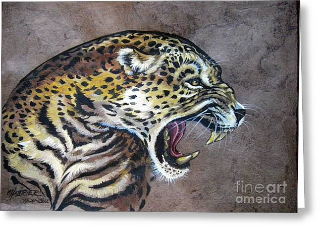 Amate Bark Paper Greeting Cards - Livid Leopard Greeting Card by Anne Shoemaker-Magdaleno