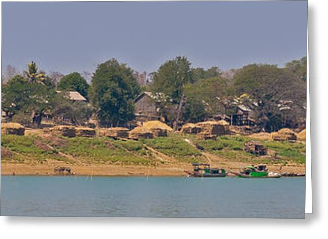 Bamboo House Greeting Cards - Living along the Irrawaddy River Greeting Card by Beth Wolff
