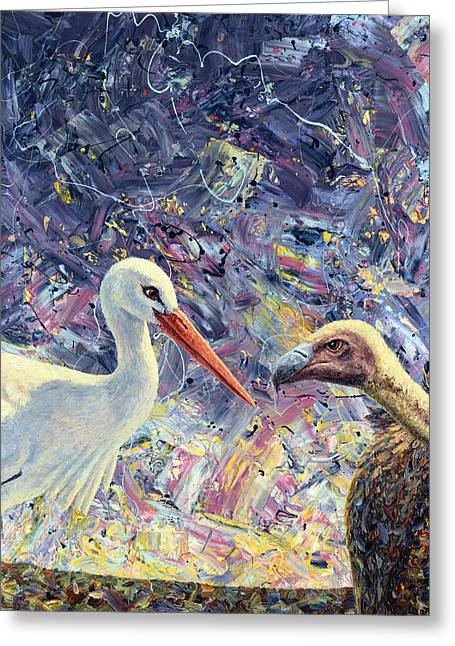 Stork Greeting Cards - Living Between Beaks Greeting Card by James W Johnson
