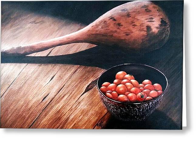 Wooden Bowls Paintings Greeting Cards - Living History Greeting Card by Lauren Espinoza