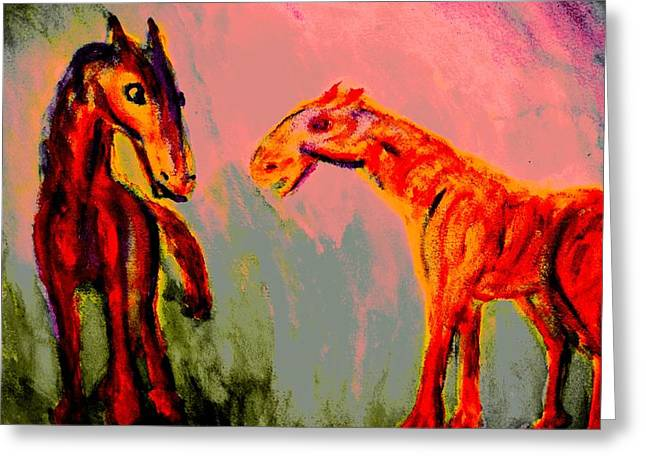 Sweating Paintings Greeting Cards - Living in my dreams  Greeting Card by Hilde Widerberg