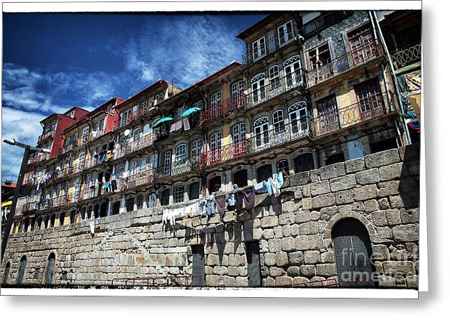 Hanging Laundry Greeting Cards - Living in Porto Greeting Card by John Rizzuto