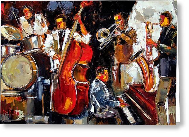 Drum Paintings Greeting Cards - Living Jazz Greeting Card by Debra Hurd