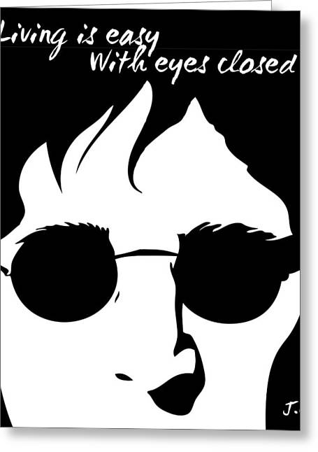 Quotes Greeting Cards - Living Lennon Greeting Card by Gina Dsgn