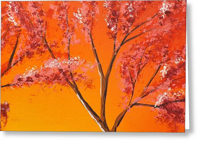 Burnt Umber Greeting Cards - Living Loving Tree top right Greeting Card by Darren Robinson