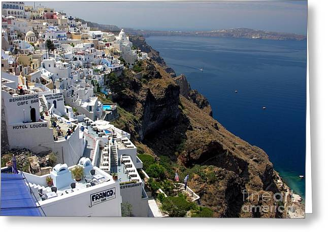 Greece Photographs Greeting Cards - Living On The Edge Greeting Card by Mel Steinhauer
