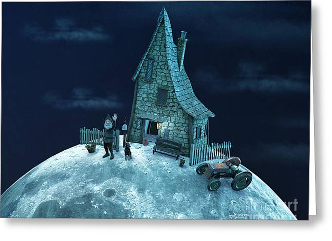 Man On The Moon Greeting Cards - Living on the Moon Greeting Card by Jutta Maria Pusl