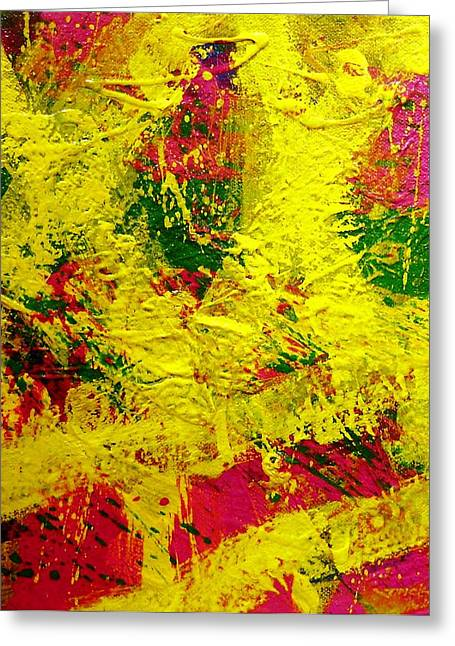 Yellow Line Paintings Greeting Cards - Living Pigment Greeting Card by John  Nolan