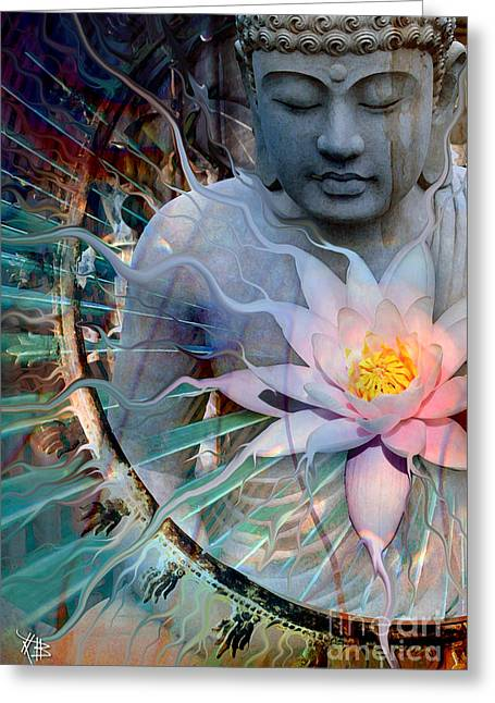 Buddhism Digital Art Greeting Cards - Living Radiance Greeting Card by Christopher Beikmann