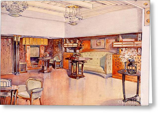 Living Room, 1905 Greeting Card by Alfred Grenander