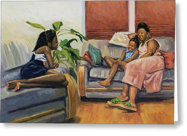 Lounge Paintings Greeting Cards - Living Room Lounge Greeting Card by Colin Bootman