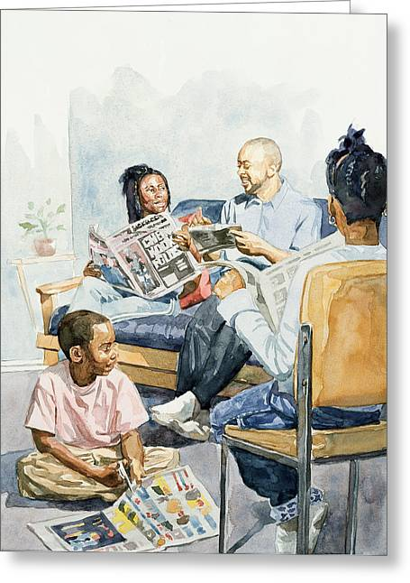 African-american Paintings Greeting Cards - Living Room Serenades Greeting Card by Colin Bootman