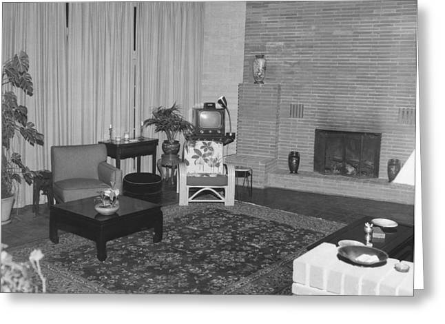 White Curtain Greeting Cards - Living Room With A TV Greeting Card by Underwood Archives