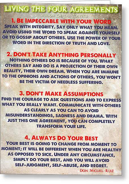 Recently Sold -  - Motivational Poster Greeting Cards - LIVING THE FOUR AGREEMENTS - Wisdom Of The Toltecs Greeting Card by Celestial Images