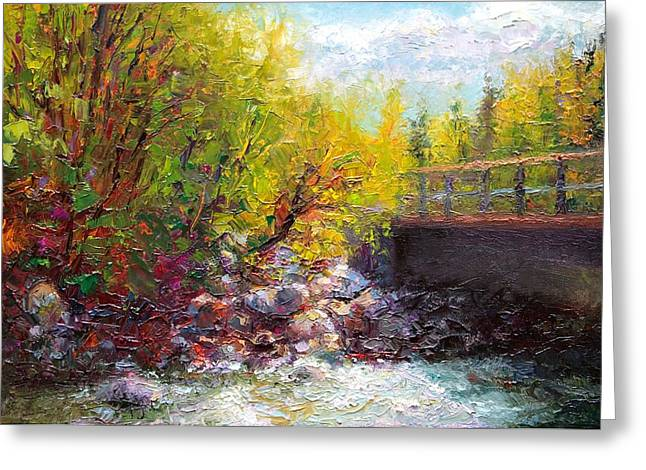 Contemporary Symbolism Greeting Cards - Living Water - bridge over Little Su River Greeting Card by Talya Johnson