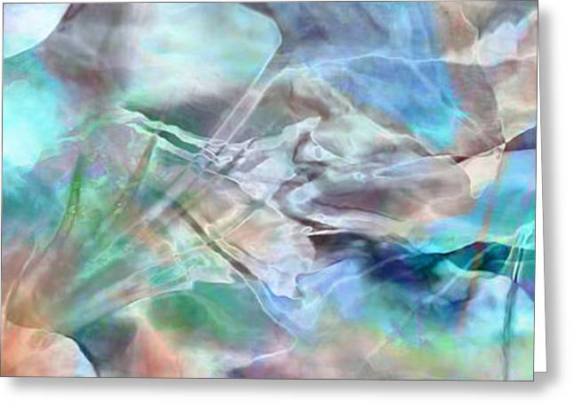Blue Green Water Greeting Cards - Living Waters - Abstract Art Greeting Card by Jaison Cianelli
