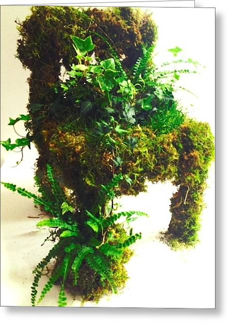 Grass Sculptures Greeting Cards - livingART moss/grass chair Greeting Card by ARTSHOP los angeles  By Ulrik Neumann