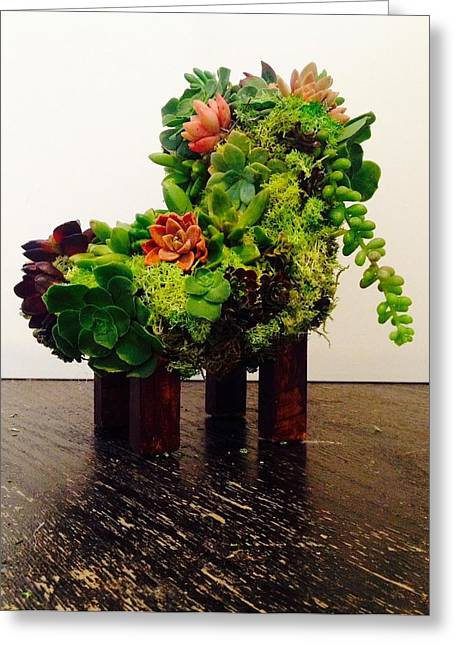 Chairs Sculptures Greeting Cards - livingART succulents chair Greeting Card by ARTSHOP los angeles  By Ulrik Neumann