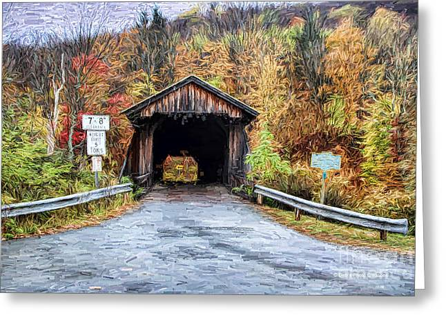 Covered Bridge Paintings Greeting Cards - Livingston Manor Covered Bridge Greeting Card by Deborah Benoit