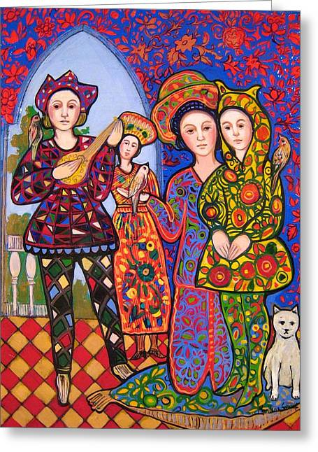 Medieval Tapestries Greeting Cards - Liz and Madeline with bunny hat and music Greeting Card by Marilene Sawaf